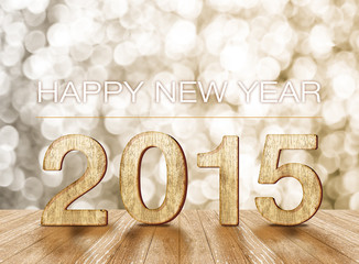 happy new year 2015 in room with sparkling wall and wooden floor