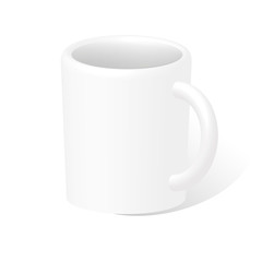 Photorealistic white 3D cup. Vector illustration