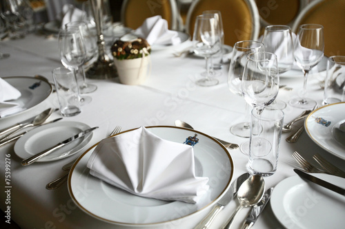 Lunch table set up restaurant plates and glasses & Lunch table set up restaurant plates and glasses