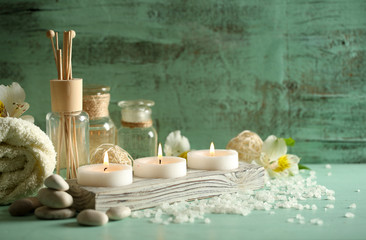 Printed roller blinds Spa Composition of spa treatment, candles in bowl with water