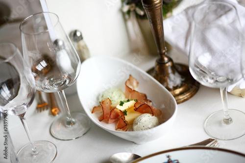 Restaurant table set up, starter, fine dining table, posh\