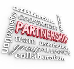 Partnership 3d Word Collage Team Association Alliance