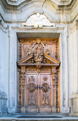 carved wooden portal