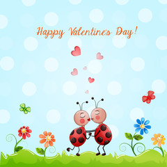 Valentine's day illustration with cute couple of lady bugs.