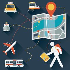 Travel Icon : Map & Transportation