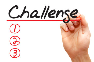 Hand writing Challenge List with red marker, business concept