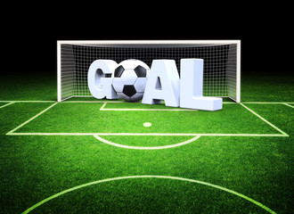 3d goal with soccer ball in the stadium