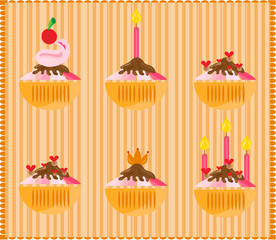 Sweets on striped background
