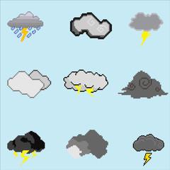 Pixel Art Storm Cloud Collection