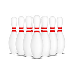 Bowling pins with red stripes standing in formation