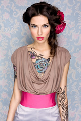 sexy gorgeous brunette girl with tattoo, fashion, red rose, hair