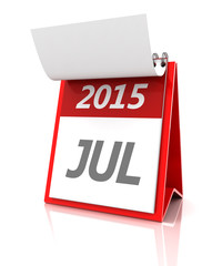 2015 July calendar, 3d render