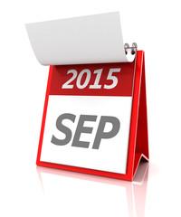 2015 September calendar, 3d render