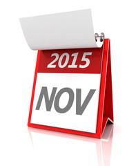 2015 November calendar, 3d render
