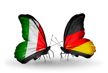 Two butterflies with flags  Italy and Germany