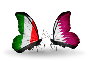 Two butterflies with flags Italy and Qatar