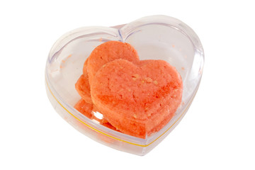 Heart-shaped box of cookies
