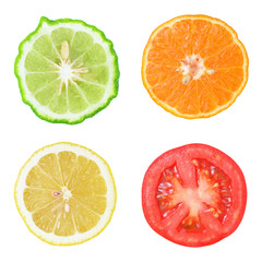 Collection of fresh fruit and vegetable slices on white backgrou
