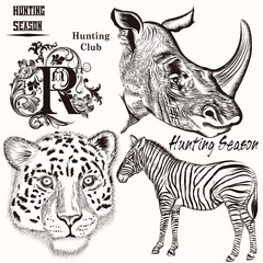 Collection of hand drawn animals for hunting design