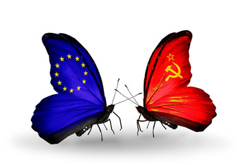Two butterflies with flags  EU and Soviet Union