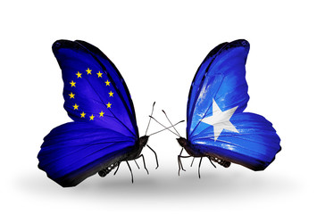 Two butterflies with flags EU and Somalia