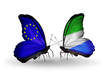 Two butterflies with flags  EU and Sierra Leone