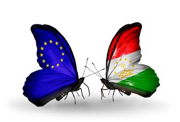 Two butterflies with flags EU and Tajikistan