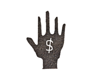coffee grounds, hand shape and dollar symbol