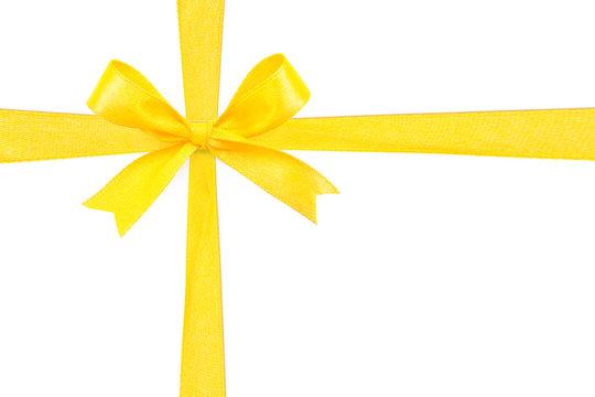 Yellow satin gift bow ribbon