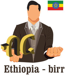 Ethiopia national currency Ethiopian birr symbol representing mo