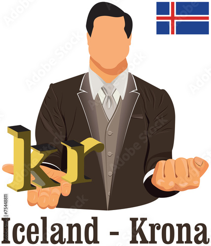 Iceland National Currency Icelandic Krona Symbol Representing Mo