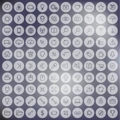 Minimalist line universal icon set on blur background.