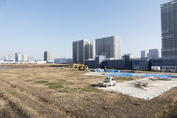 [東京都市風景]東京オリンピックに向けて開発が進む有明 建設中の高層タワーマンション