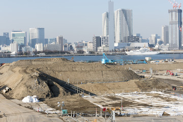 豊洲新市場建設地の建設現場