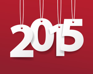 Vector Modern red simple Happy new year 2015 card.