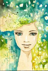 Printed kitchen splashbacks Painterly Inspiration woman, flowers
