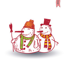 snowman. vector illustration.