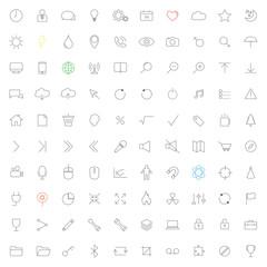 Minimalist line universal icon set.