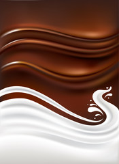 milk splash on chocolate background