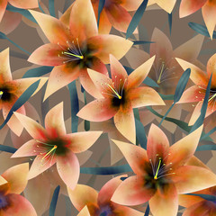 Seamless pattern with orange lilies texture background