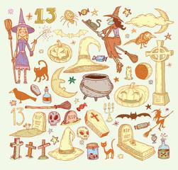 Halloween doodles elements. vector illustration