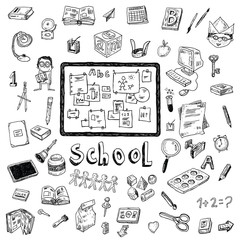 Doodle school icon, hand drawn illustration.
