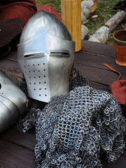 Pieces of Metal medieval armor and blank
