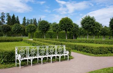 Bench in Catherine Park, Tsarskoye Selo (Pushkin), Russia