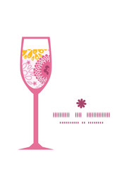 Vector pink field flowers wine glass silhouette pattern frame