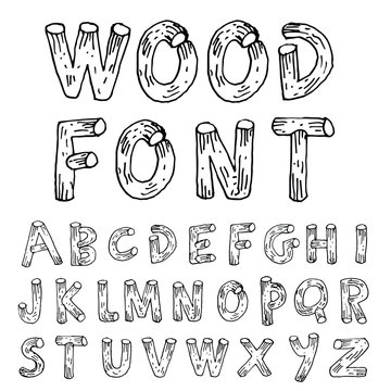 Vector font wood style.