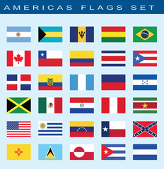 set of Americas flags Americas, vector illustration