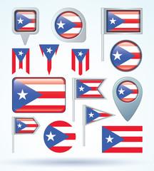 Flag set of Puerto rico, vector illustration