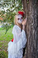 The girl in the image of Santa Muerte