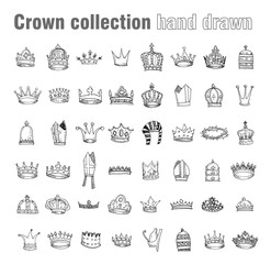 crown collection, hand drawn vector.